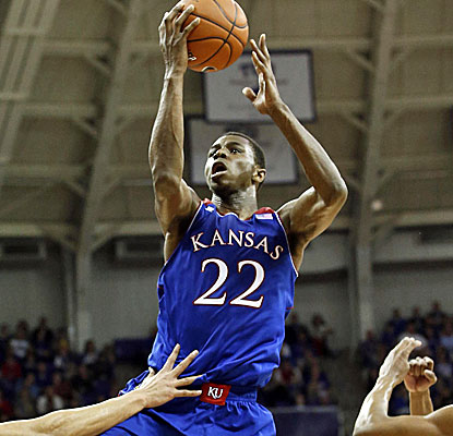 Kansas freshman Andrew Wiggins gets to the hoop for two of his 27 points against TCU. He also grabs five rebounds. (USATSI)