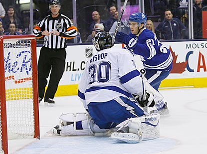 Toronto's James van Riemsdyk reacts after putting the go-ahead goal past Tampa Bay goaltender Ben Bishop. (USATSI)