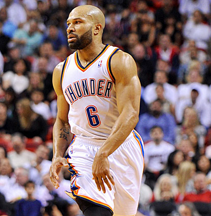 The Thunder get a lift off the bench from veteran point guard Derek Fisher who scores 15 points on five 3-point shots. (USATSI)