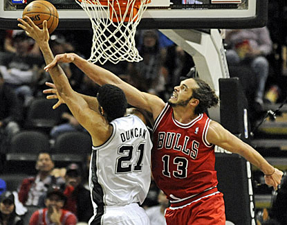 Joakim Noah scores 10 points and grabs 10 rebounds while providing some aggressive defense for Chicago. (USATSI)