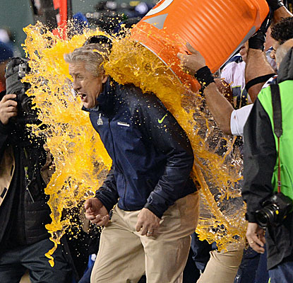 The early February weather is mild enough for the Seahawks to give coach Pete Carroll the traditional Gatorade bath. (USATSI)