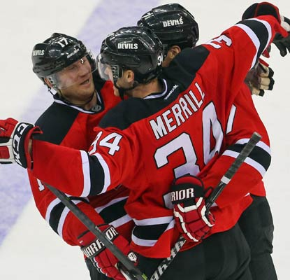 Jon Merrill nabs the first goal of his NHL career and he makes it count, scoring 2:34 into overtime.  (USATSI)