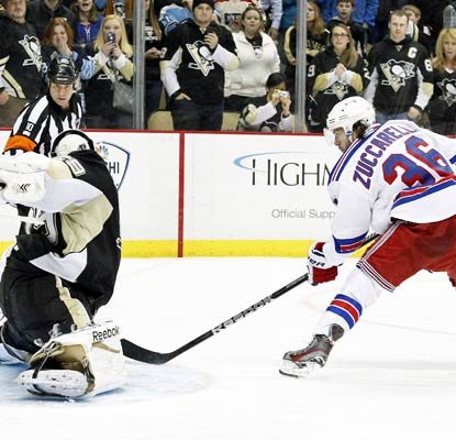 Mats Zuccarello beats Marc-Andre Fleury in the shootout to help the Rangers to their fifth win in sixth games.  (USATSI)