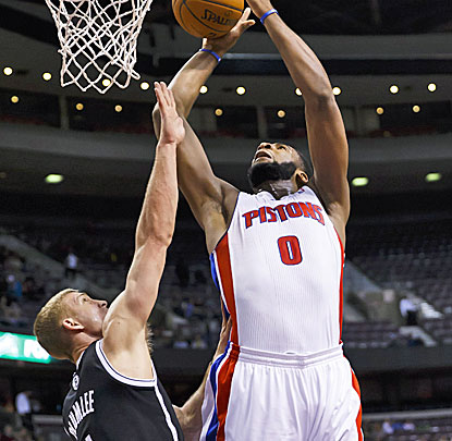Andre Drummond plays big for the Pistons, scoring 16 points and grabbing 22 rebounds against the Nets. (USATSI)