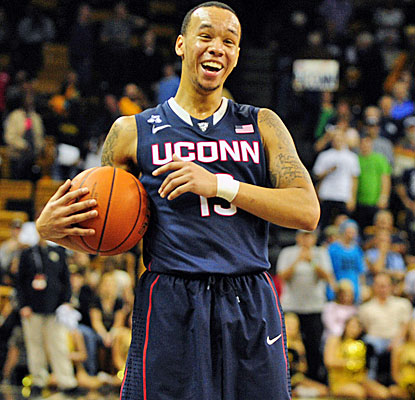 Why shouldn't Shabazz Napier be smiling? He scores 17 points and UConn crushes UCF on the road. (USATSI)