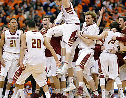 Boston College, which comes in with 19 losses, celebrates the biggest upset of the college basketball season.  (USATSI)