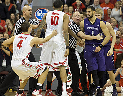 LaQuinton Ross scores 16 points for Ohio State before being ejected after a scuffle with Northwestern. (USATSI)