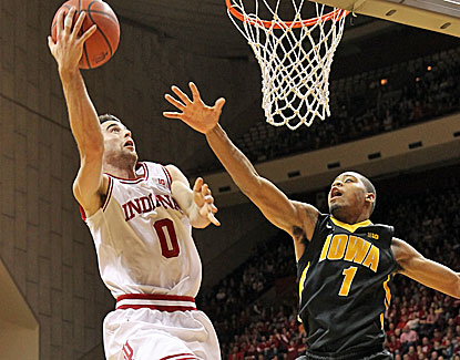 Indiana's Will Sheehey scores 19 of his career-high 30 points in the first half as the Hoosiers take down Iowa. (USATSI)