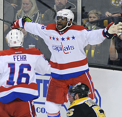 Joel Ward celebrates with Eric Fehr after scoring what would turn out to be the winning goal for the Capitals.  (USATSI)