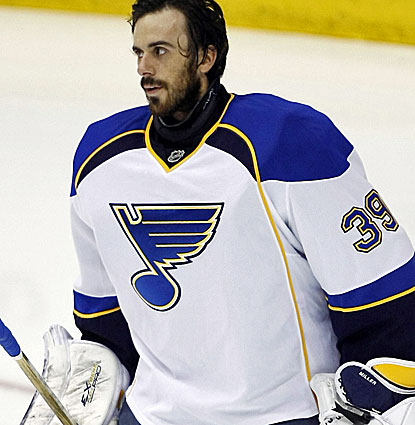 Ryan Miller makes 23 saves in his first game in goal since being acquired by St. Louis from Buffalo. (USATSI)
