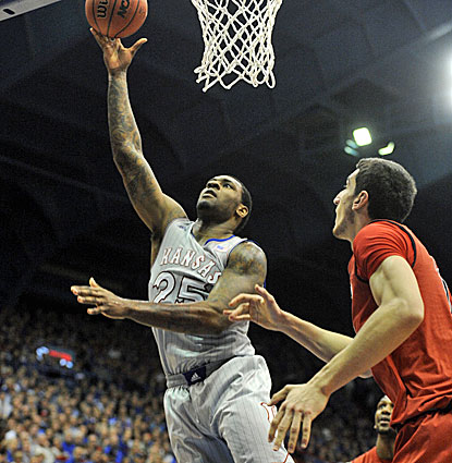 Kansas' Tarik Black scores 19 points on perfect shooting in his final game for the Jayhawks. (USATSI)