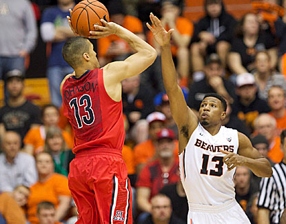 Nick Johnson scores 25 points for the Arizona, making 8 of his 18 shots against Oregon State. (USATSI)
