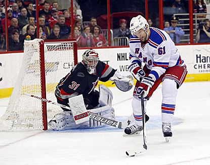 Carolina goalie Anton Khudobin makes 40 saves but it isn't enough in a 4-2 loss to the Rangers. (USATSI)