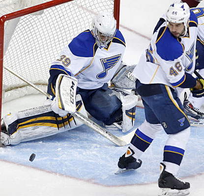 Ryan Miller stops 26 of 27 shots to earn his first career victory over the Avalanche and improve to 4-0 with the Blues.  (USATSI)