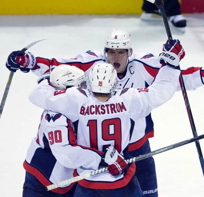 Nicklas Backstrom scores the winner in the shootout to help the Caps to a rare win in San Jose.  (USATSI)