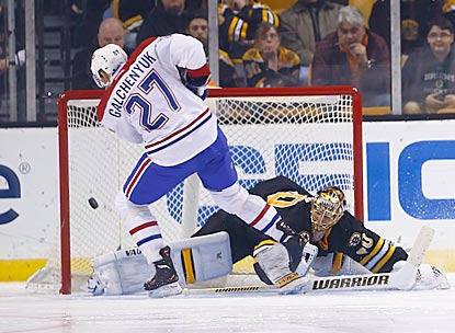 Montreal's Alex Galchenyuk ends the game and Boston's 12-game winning streak with a shootout goal against Tuukka Rask.  (Getty Images)