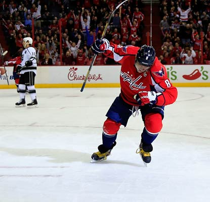 Alex Ovechkin scores on two power plays in the first period for goals No. 47 and 48 of the season. (Getty Images)