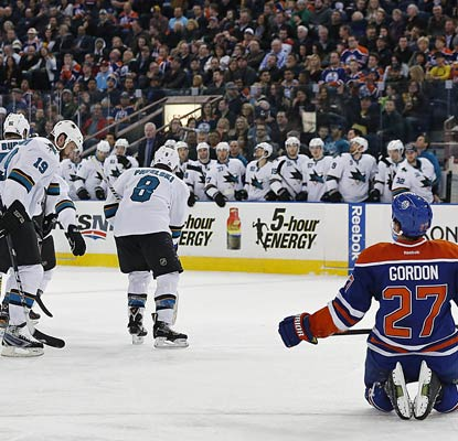 The Sharks celebrate a goal from Patrick Marleau as they snap a two-game skid with a win over the Oilers.  (USATSI)
