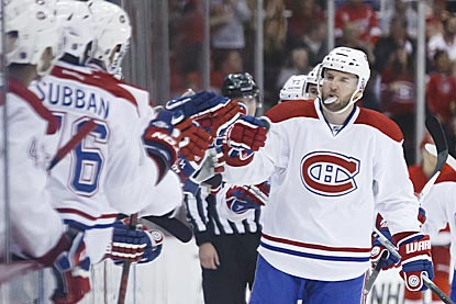 Thomas Vanek goes down the receiving line after his goal in the third period pushes Montreal's lead to 5-3.  (USATSI)