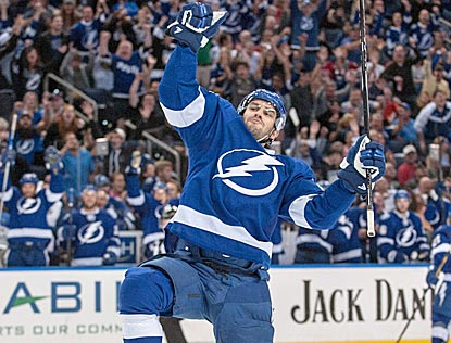 Tampa Bay rookie forward Ondrej Palat reacts after assisting on Ryan Callahan's goal during the second period.  (USATSI)