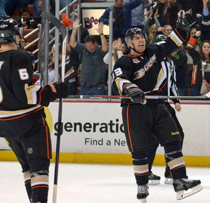 Francois Beauchemin (right) is pumped after scoring the game winner on a slap shot in the final minutes of the third period.  (USATSI)