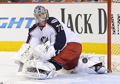 Sergei Bobrovsky makes a save during the second period, one of 37 he makes in earning his fourth shutout of the season.  (USATSI)