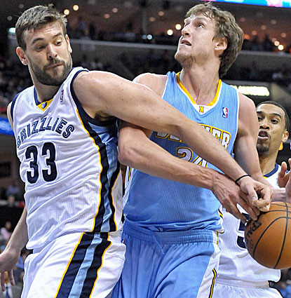 Marc Gasol gets it going for the Grizzlies against the Nuggets, scoring 24 points and making 8 of his 10 free throws. (USATSI)