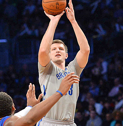 Power forward Mirza Teletovic makes six 3-pointers for Brooklyn, scoring 20 points against the Pistons. (USATSI)