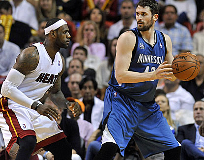 Kevin Love scores 28 points and grabs 11 rebounds for Minnesota in the Timberwolves win over Miami. (USATSI)