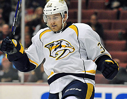 Nashville Predators center Colin Wilson celebrates scoring one of his two goals against  the Anaheim Ducks. (USATSI)