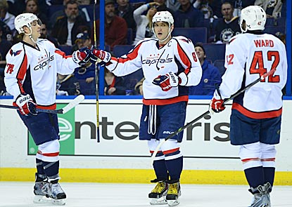 Alex Ovechkin (center) opens the scoring and rejoins the 50-goal club after missing out the previous three seasons.  (USATSI)
