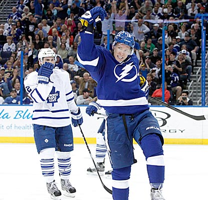 Ondrej Palat celebrates after scoring one of his two second-period goals for Tampa Bay.  (USATSI)