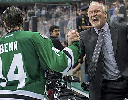 Dallas' Jamie Benn and coach Lindy Ruff have reason to celebrate, making the playoffs for the first time since 2008. (USATSI)