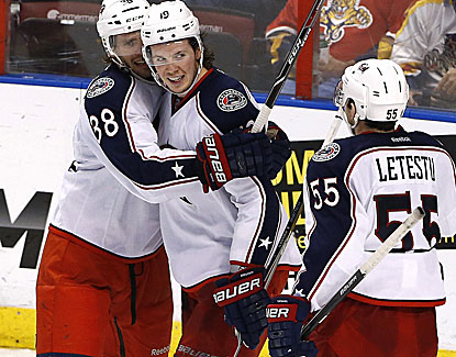 Ryan Johansen (center) celebrates scoring the tiebreaking goal in the third period against the Panthers. (USATSI)