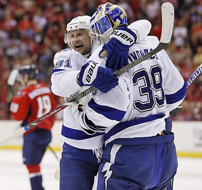 Steven Stamkos, Anders Lindback and the Lightning have lots to celebrate heading into the playoffs.  (USATSI)