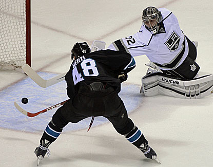Tomas Hertl gets the puck past Jonathan Quick, one of five Sharks to score against the Kings goalie. (USATSI)