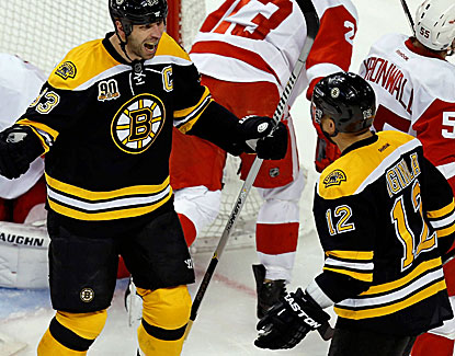 Boston defenseman Zdeno Chara celebrates after coming through with a goal against the Red Wings. (USATSI)