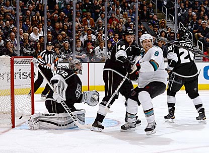 San Jose's Joe Pavelski (8) reacts after seeing Patrick Marleau's shot get past Jonathan Quick in overtime.  (Getty Images)