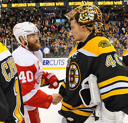 Henrik Zetterberg scores for the Wings but Tuukka Rask stops 31 of 32 other shots to help the Bruins clinch the series.  (Getty Images)