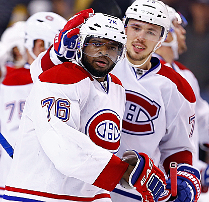 P.K. Subban scores a pair of goals, the last one being the winner in double overtime as the Habs take Game 1.  (USATSI)