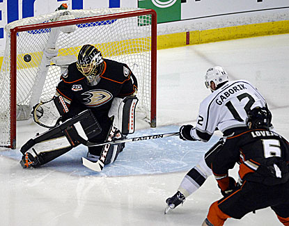 Marian Gaborik beats Jonas Hiller in the first period for his third goal in two games against the Ducks. (USATSI)