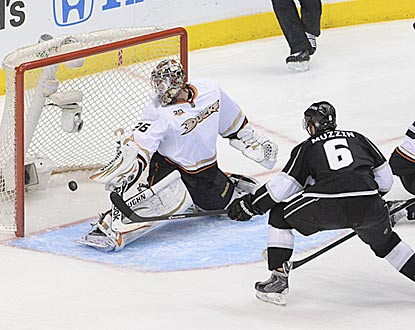 Jake Muzzin opens the scoring 8:16 into the first period with this shot past Anaheim's John Gibson.  (Getty Images)