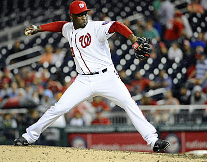 Nationals reliever Rafael Soriano pitches out of a jam in the ninth inning to record his ninth save. (USATSI)