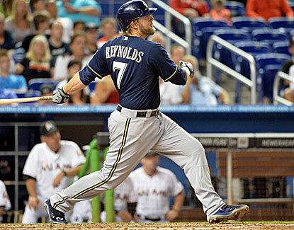 Milwaukee's Mark Reynolds homers in the fourth and again in the fifth, increasing his season total to 11. (USATSI)
