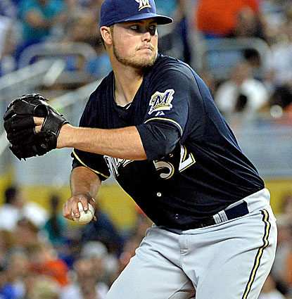 Jimmy Nelson pitches 5 2/3 scoreless innings against Miami in his season debut for Milwaukee. (USATSI)