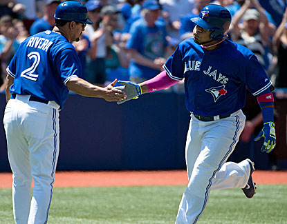 Edwin Encarnacion's homer is his 12th this month, tying the team record set by Jose Bautista in May 2010. (USATSI)