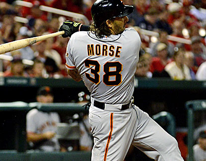 San Francisco first baseman Michael Morse adds to his impressive power numbers with a home run and a double. (USATSI)