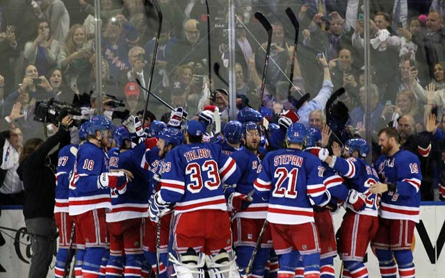 The Rangers celebrate their first trip to the Cup Final since 1994. (USATSI)