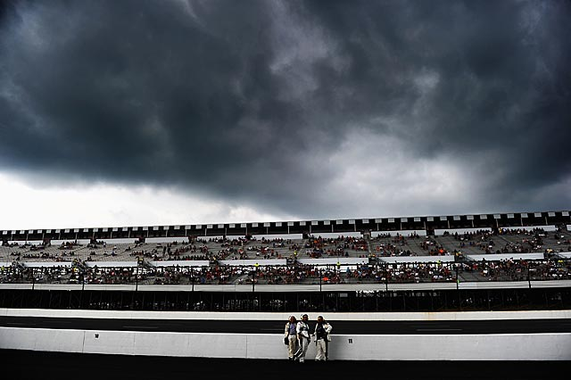 Ominous skies loomed over Pocono Raceway for much of Sunday. (Getty Images)