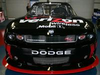The #12 Verizon Wireless Dodge is on display during the unveiling of the NASCAR Nationwide Series Car Of Tomorrow at Talladega Superspeedway on October 31, 2009 in Talladega, Alabama. (Photo by Todd Warshaw/Getty Images for NASCAR)